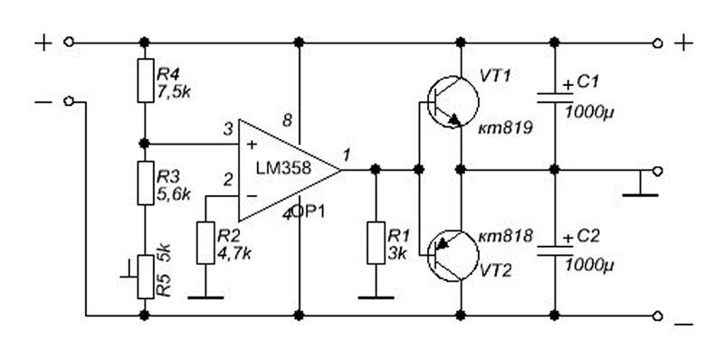 Схема преобразователя однополярного напряжения в двухполярное